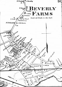 1872 Map of Beverly Farms showing neighbors surnames