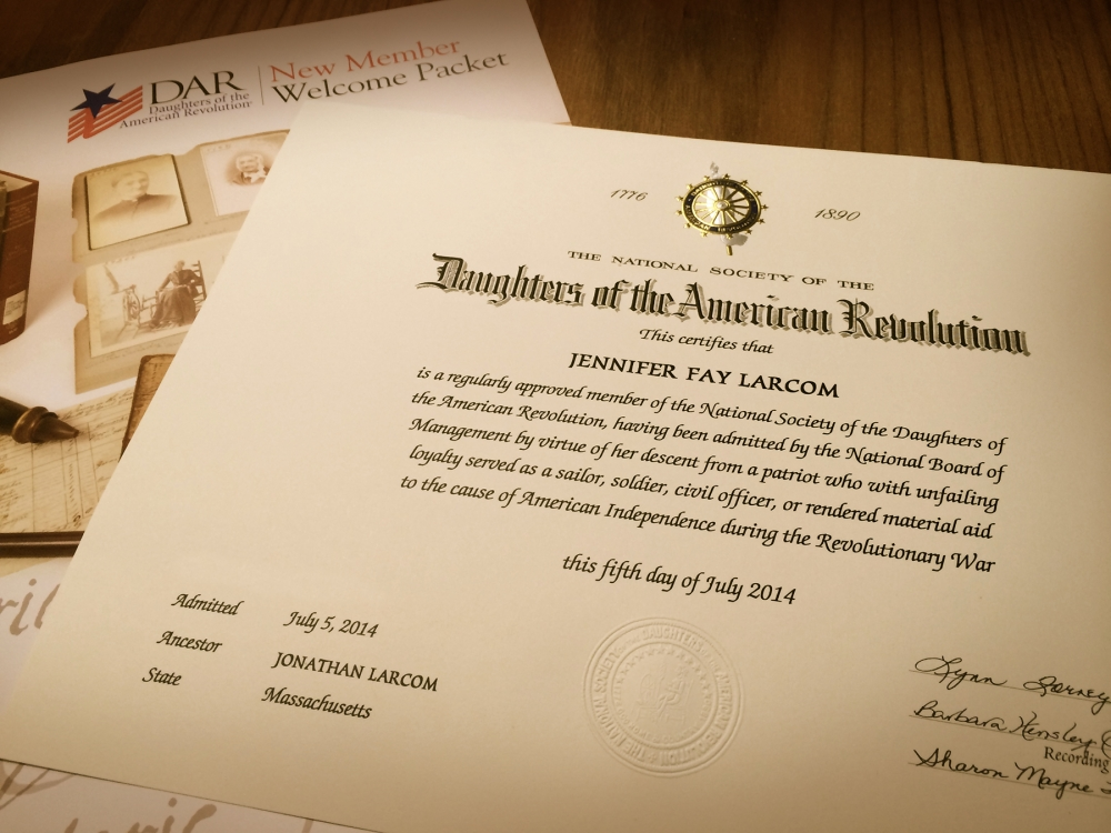 Joining the National Society of the Daughters of the American Revolution